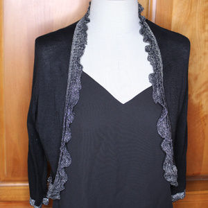 Anthro Knitted & Knoted Silver Metalic Cardigan
